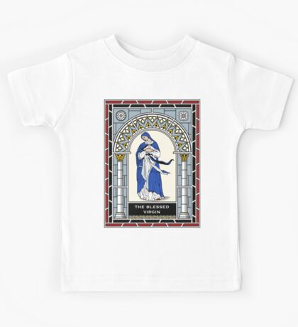 BLESSED VIRGIN STAINED GLASS Kids Tee