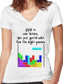 LIFE is like Tetris Women's Fitted V-Neck T-Shirt