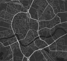 Krakow, Poland Map. (White on black) Sticker