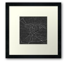 Krakow, Poland Map. (White on black) Framed Print