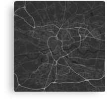Krakow, Poland Map. (White on black) Canvas Print