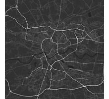 Krakow, Poland Map. (White on black) Photographic Print