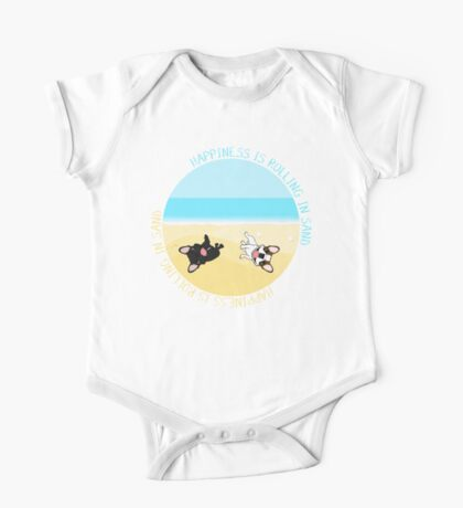 French Bulldogs Rolling In Sand One Piece - Short Sleeve