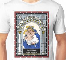 MADONNA AND CHILD under STAINED GLASS Unisex T-Shirt