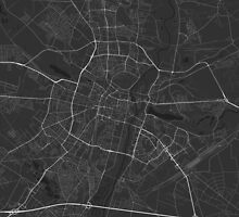 Poznan, Poland Map. (White on black) by Graphical-Maps