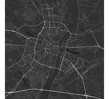 Poznan, Poland Map. (White on black) Photographic Print