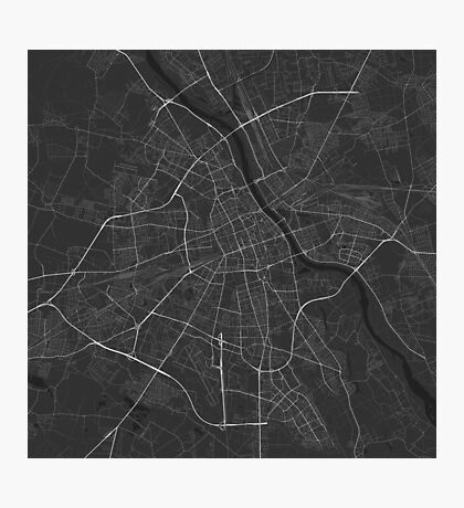 Warsaw, Poland Map. (White on black) Photographic Print