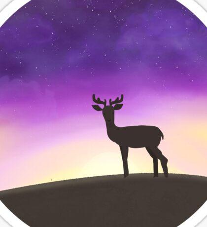 Deer in the sunset  Sticker