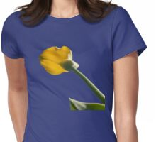 Yellow calla lily greets blue sky Womens Fitted T-Shirt