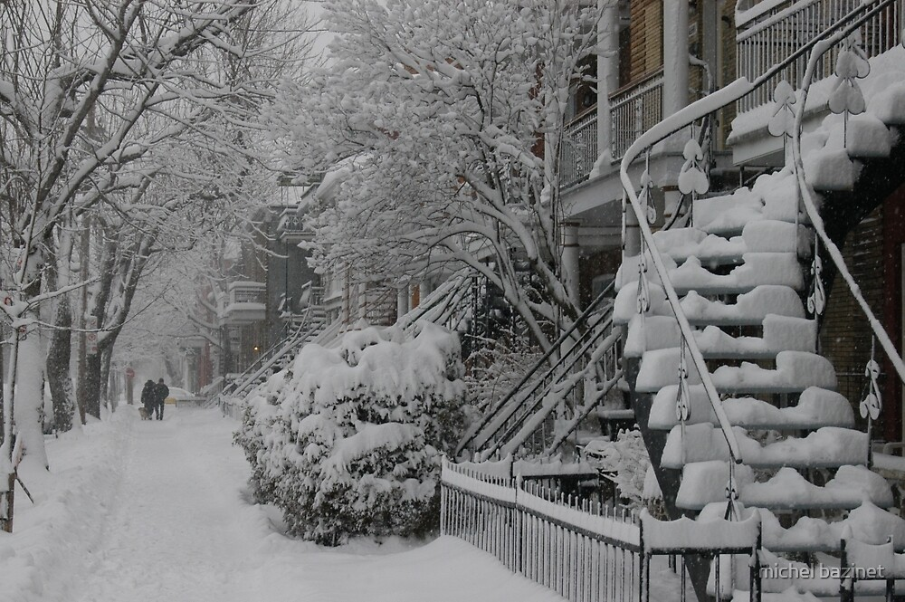 Montreal Snow Winter Scene by michel bazinet