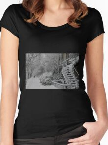 Montreal Snow Winter Scene Women's Fitted Scoop T-Shirt