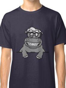 schild mauer rahmen klettern text strich nerd geek schlau hornbrille freak dumm zahnspange lustiges süßes dickes comic cartoon nilpferd fett hippo  Classic T-Shirt