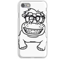 schild mauer rahmen klettern text strich nerd geek schlau hornbrille freak dumm zahnspange lustiges süßes dickes comic cartoon nilpferd fett hippo  iPhone Case/Skin