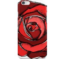 Mixed Media Red Rose Flower iPhone Case/Skin