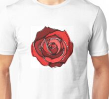 Mixed Media Red Rose Flower Unisex T-Shirt