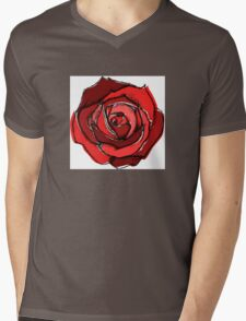 Mixed Media Red Rose Flower Mens V-Neck T-Shirt