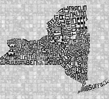 New York State Typographic Map by icoNYC