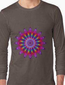 Woven Rainbow Fractal Flower Long Sleeve T-Shirt