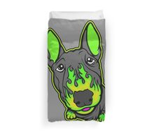 Custom Hot Rod Bull Terrier Lime Green  Duvet Cover