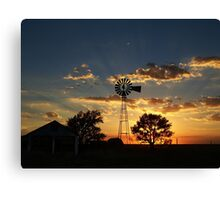 Rays Of Light Behind The Windmill Canvas Print