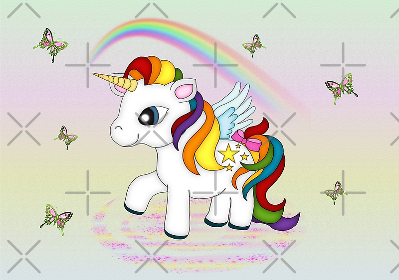 Rainbow Unicorn and Butterflies  by LoneAngel