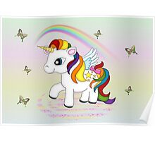 Rainbow Unicorn and Butterflies  Poster