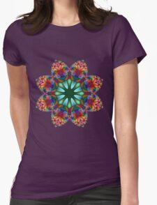 Satin Rainbow Fractal Flower I Womens Fitted T-Shirt