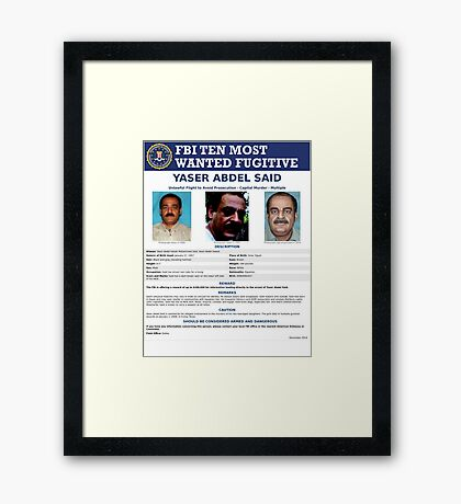 Wanted By FBI Framed Print