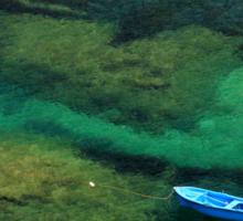 Little blue boat - Kalymnos island Sticker