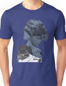 Woman Thinking of a Snowy Mountain Unisex T-Shirt