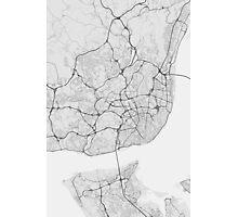 Lisbon, Portugal Map. (Black on white) Photographic Print