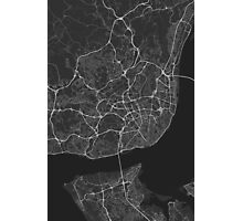 Lisbon, Portugal Map. (White on black) Photographic Print