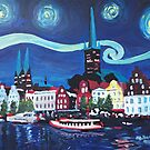 Starry Night in Luebeck Germany with Van Gogh Inspirations by artshop77
