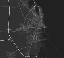 Constanta, Romania Map. (White on black) by Graphical-Maps