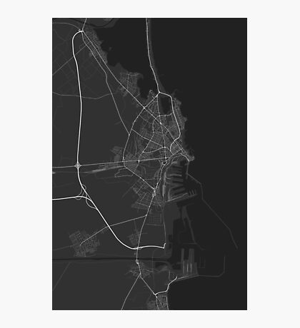 Constanta, Romania Map. (White on black) Photographic Print