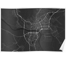 Bratislava, Slovakia Map. (White on black) Poster