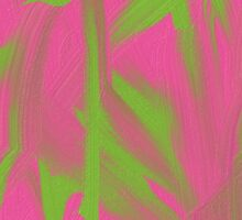 Pink and green oil painting Sticker