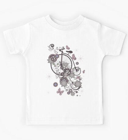 Old Bicycle and Floral Ornament Kids Tee
