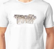 Wolf pack in the snow Unisex T-Shirt