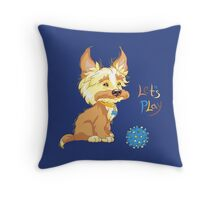 Сute redhead shaggy puppy Throw Pillow