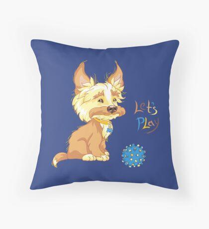 Сute redhead shaggy puppy Throw Pillow