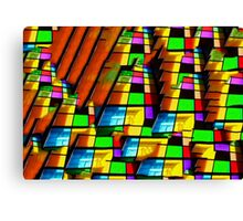 Contemporary architecture, vibrant glass windows oil painting Canvas Print