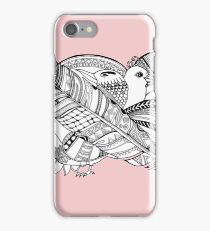 Vogel doodle Schwarz/Weiß iPhone Case/Skin
