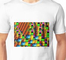 Contemporary architecture, vibrant glass windows oil painting Unisex T-Shirt