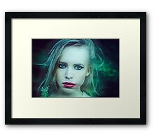 mystical portrait of blonde girl Framed Print