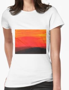 Red landscape minimal and abstract Womens Fitted T-Shirt