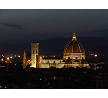 Basilica of Saint Mary of the Flower at Night Photographic Print