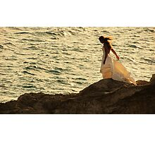 wind blowing her dress Photographic Print