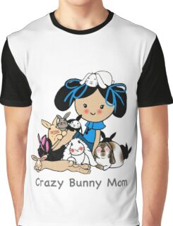 Crazy Bunny Mom Gifts - cartoon Bunny Lady with Rabbits Graphic T-Shirt