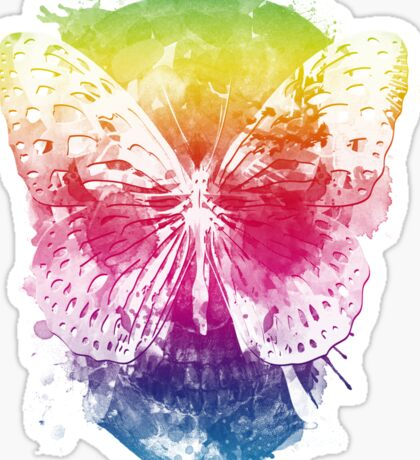 butterflyed skull Sticker